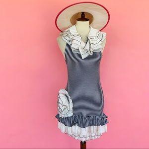 Vtg 90s Striped Stretchy Ruffle Matador Dress S M